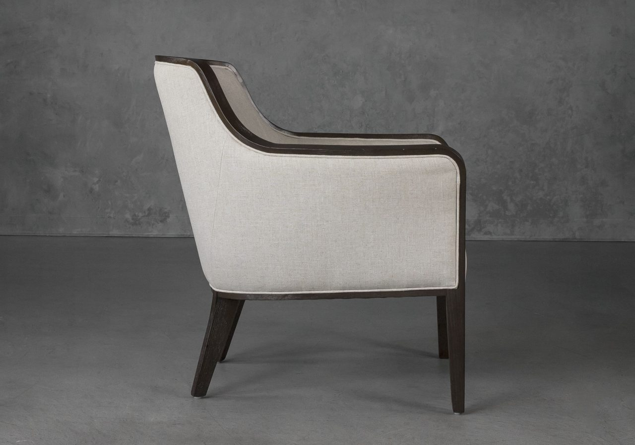 Audrey Chair in Linen (CW018) Fabric, Side