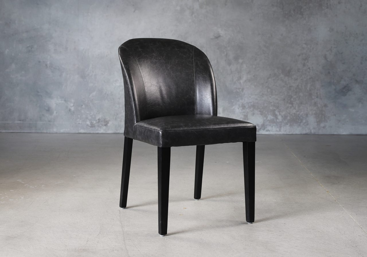 Cape Dining Chair in Black Vinyl, Angle