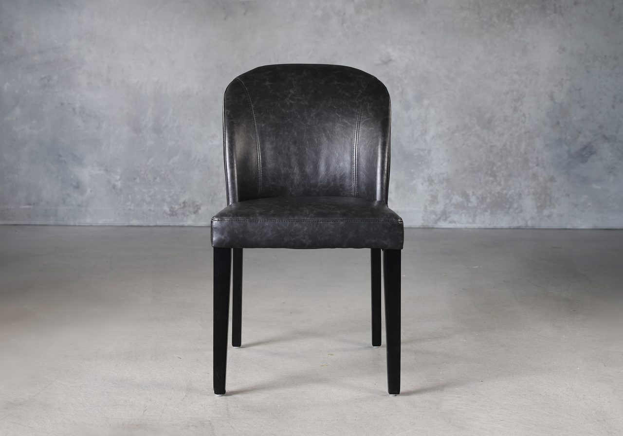 Cape Dining Chair in Black Vinyl, Front