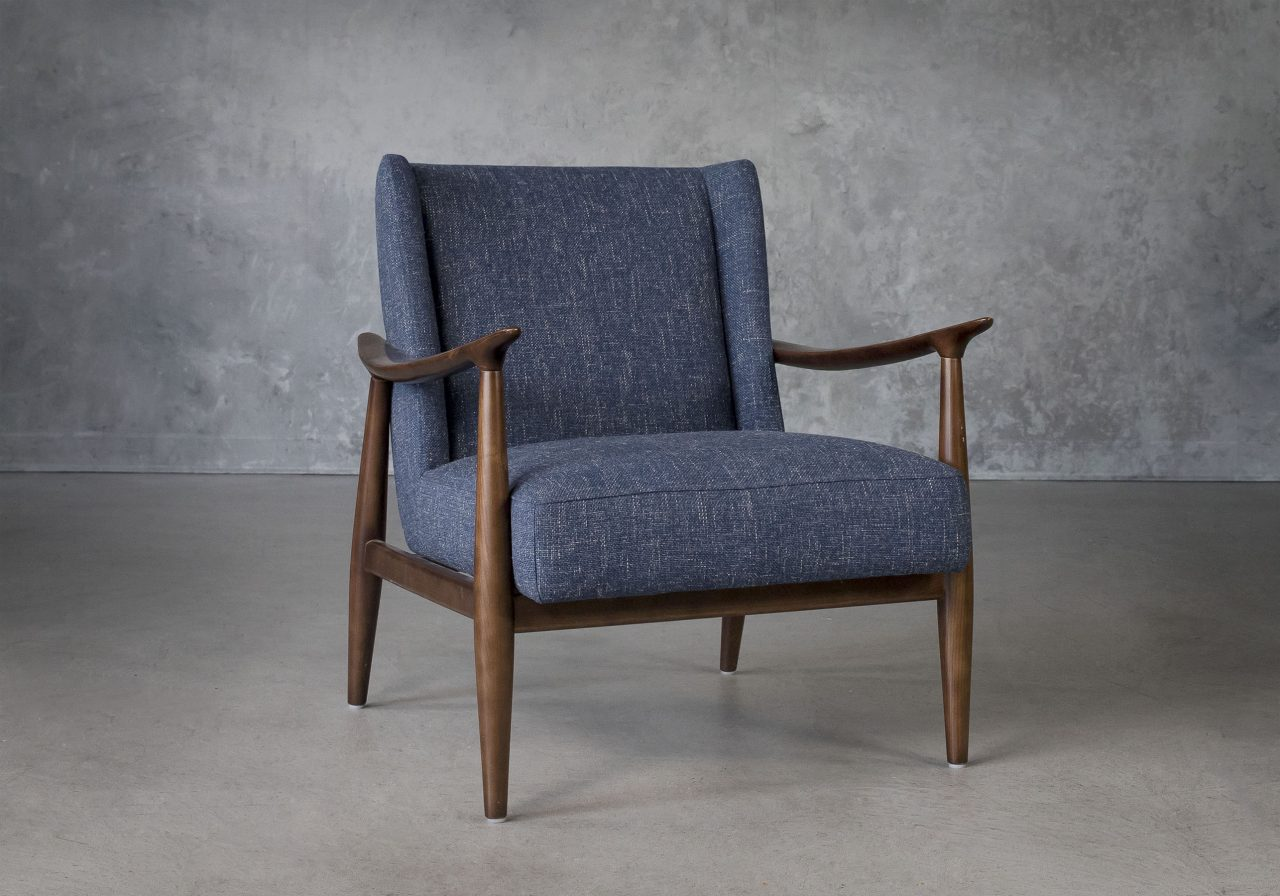 Clifton Chair in Blue (C1012) Fabric, Angle