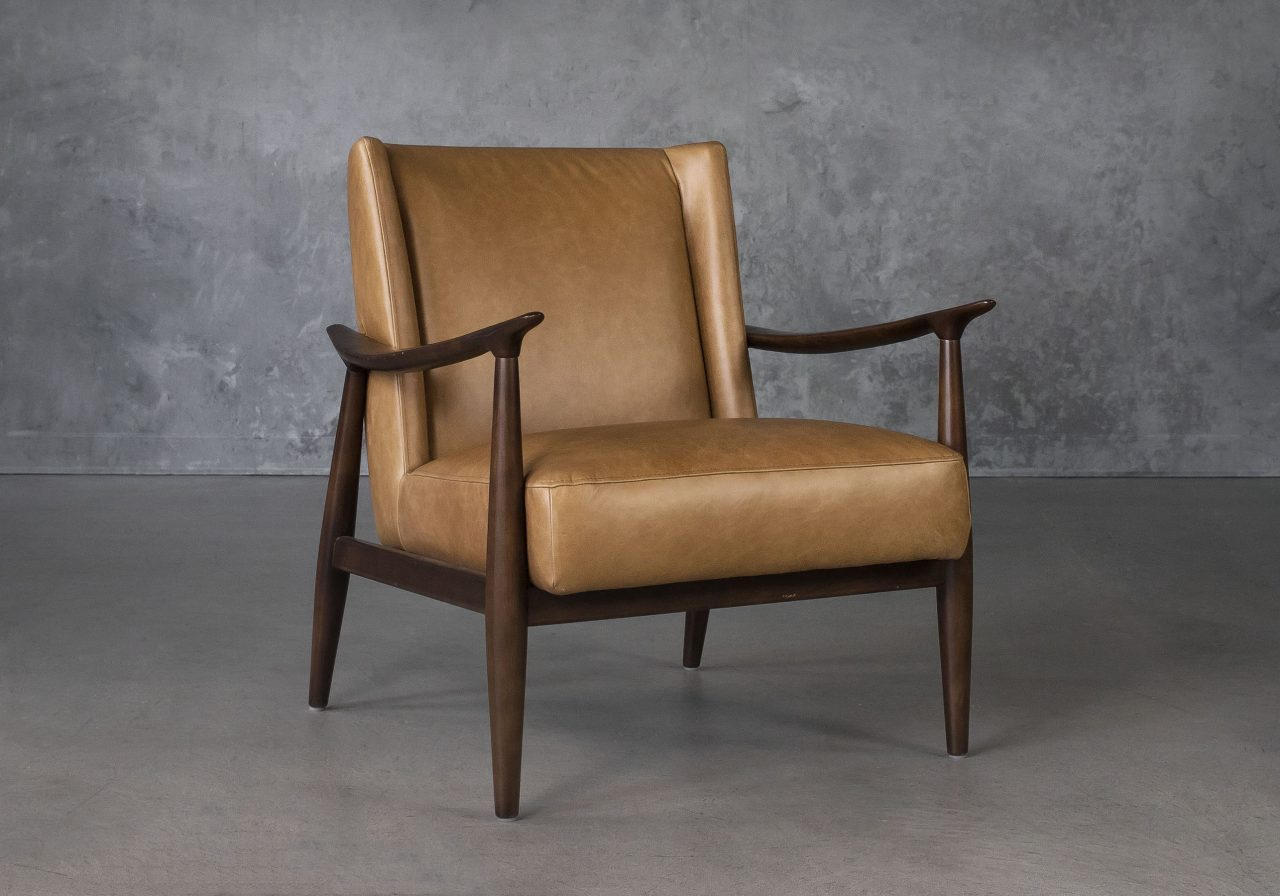 Clifton Chair in Camel Leather, Angle