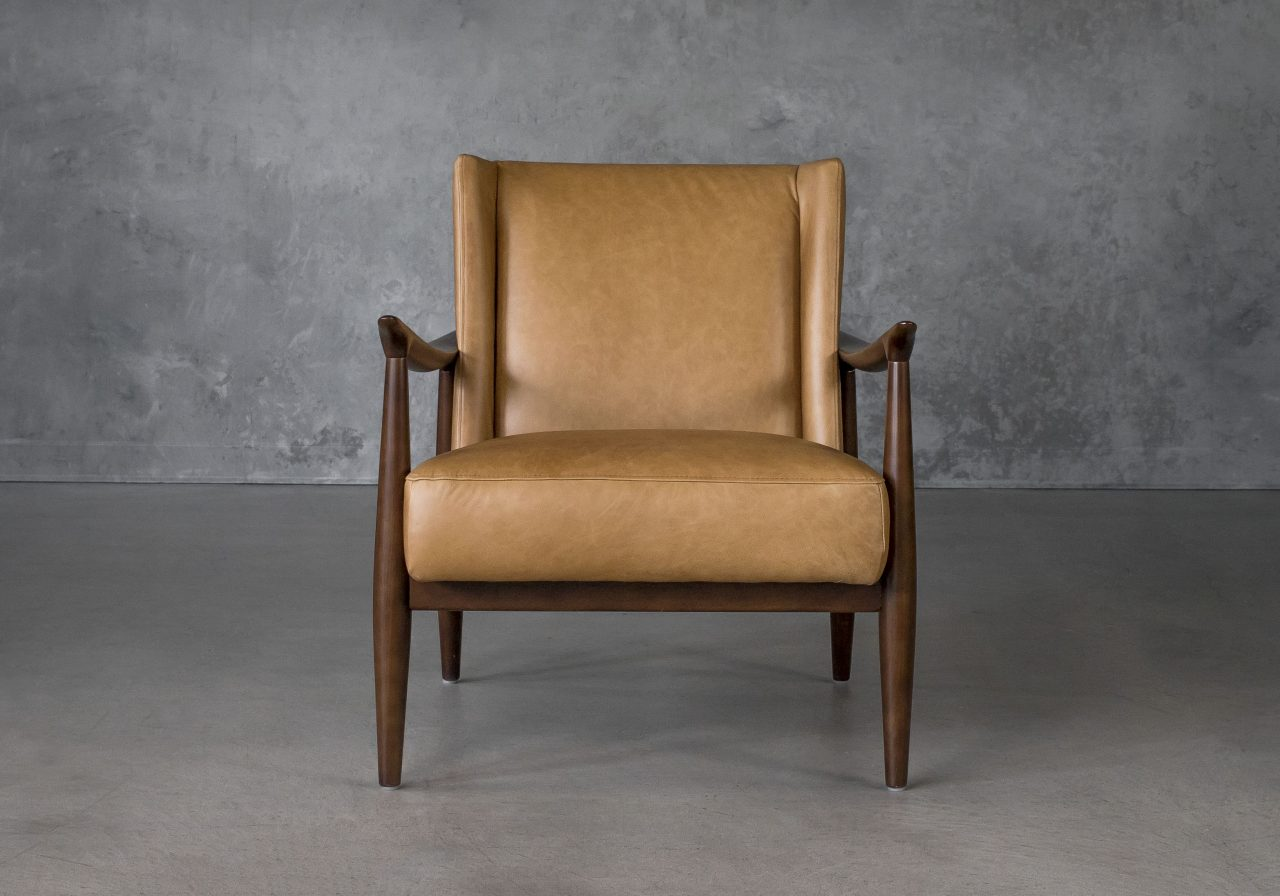 Clifton Chair in Camel Leather, Front