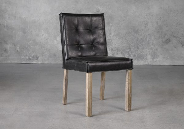 Columbia Dining Chair in Black Vinyl, Angle