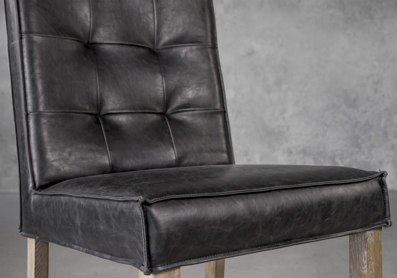 Columbia Dining Chair in Black Vinyl, Close Up