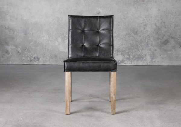 Columbia Dining Chair in Black Vinyl, Front