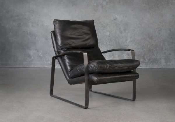 Damo Chair in Black Leather. Angle