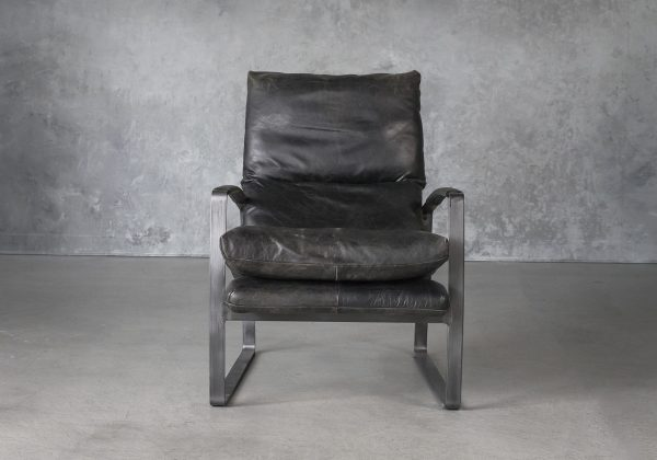 Damo Chair in Black Leather. Front