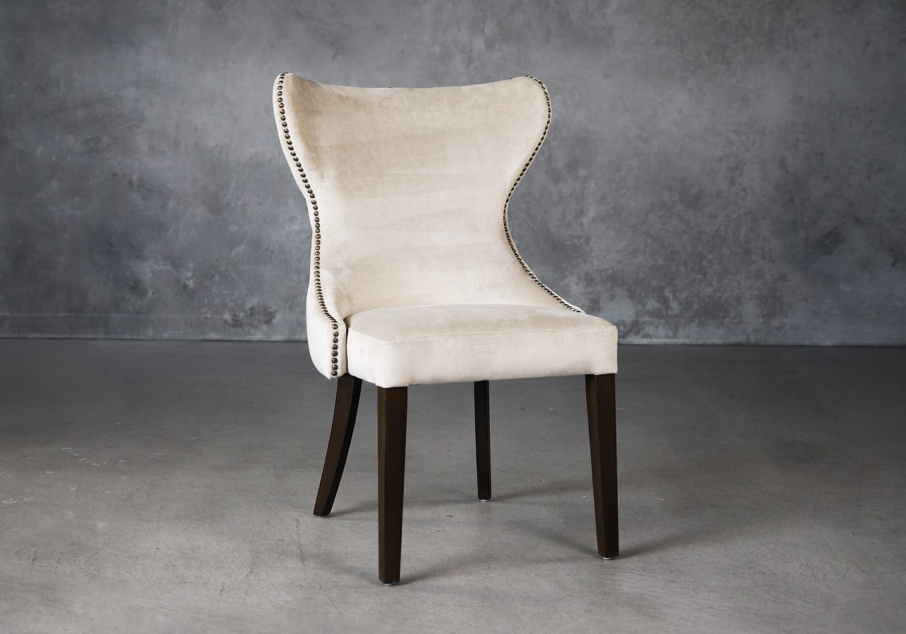 Darcy Dining Chair in Beige Fabric (C686), Angle