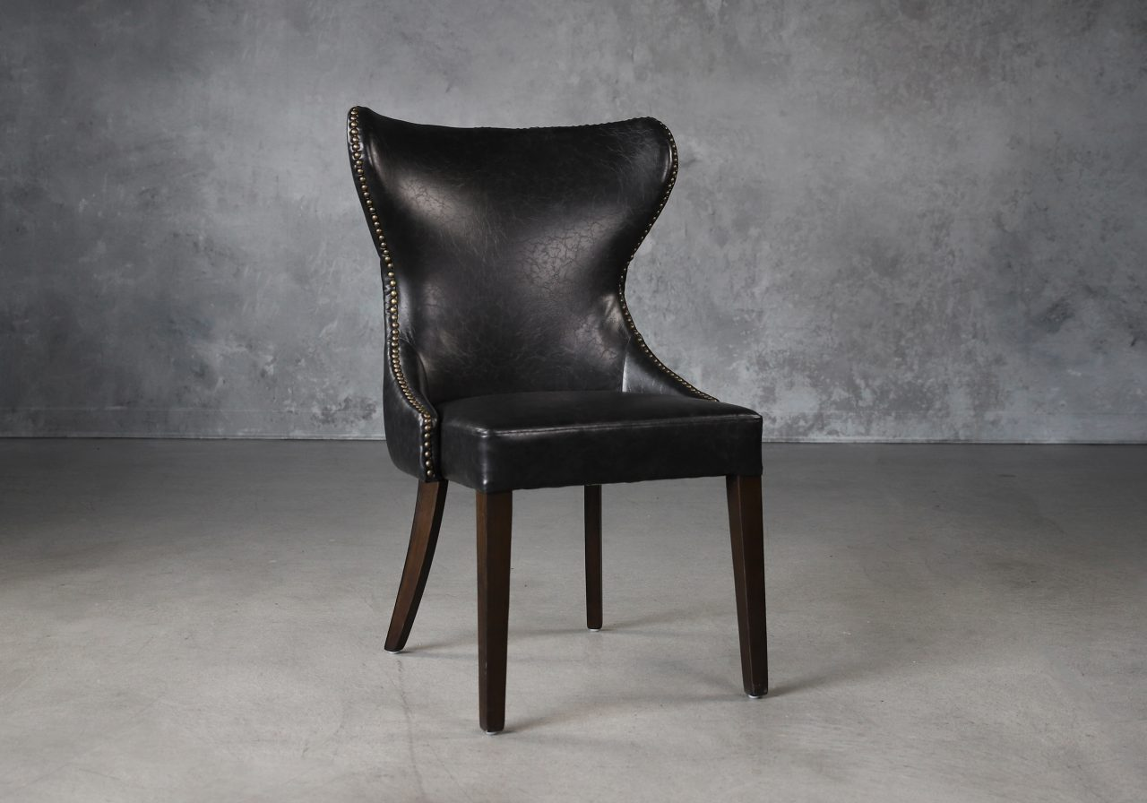Darcy Dining Chair in Black Vinyl, Angle