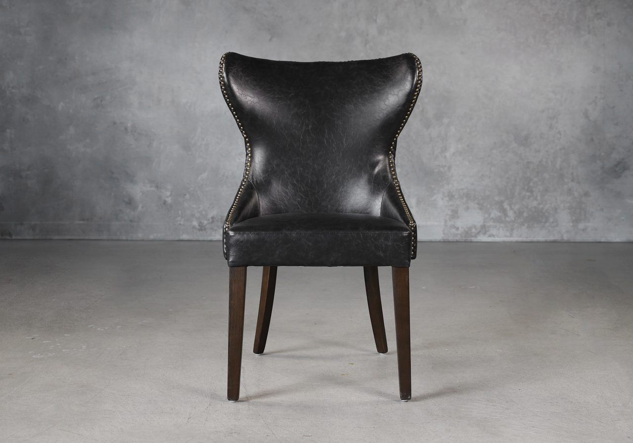 Darcy Dining Chair in Black Vinyl, Front