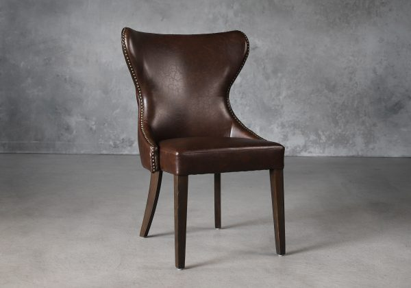 Darcy Dining Chair in Brown Vinyl, Angle