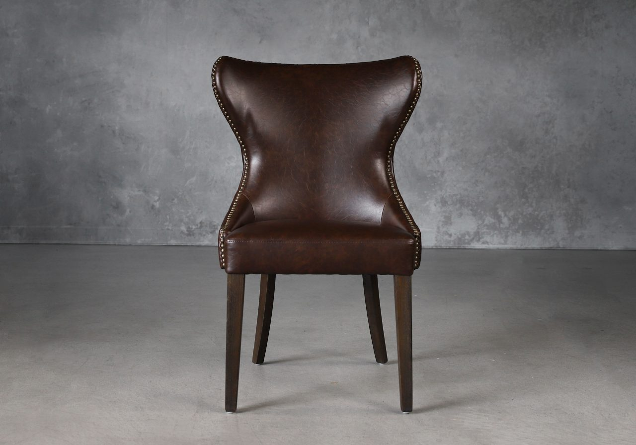 Darcy Dining Chair in Brown Vinyl, Front
