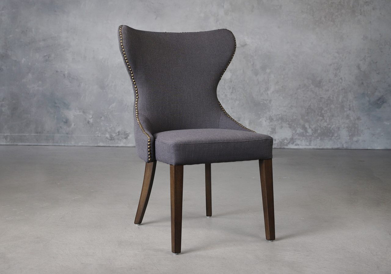 Darcy Dining Chair in Dark Grey Fabric (C606), Angle