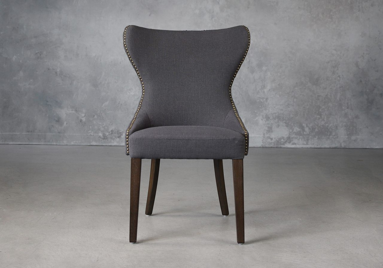 Darcy Dining Chair in Dark Grey Fabric (C606), Front