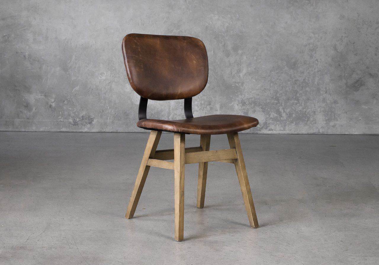 Declan Dining Chair in Brown Leather, Angle