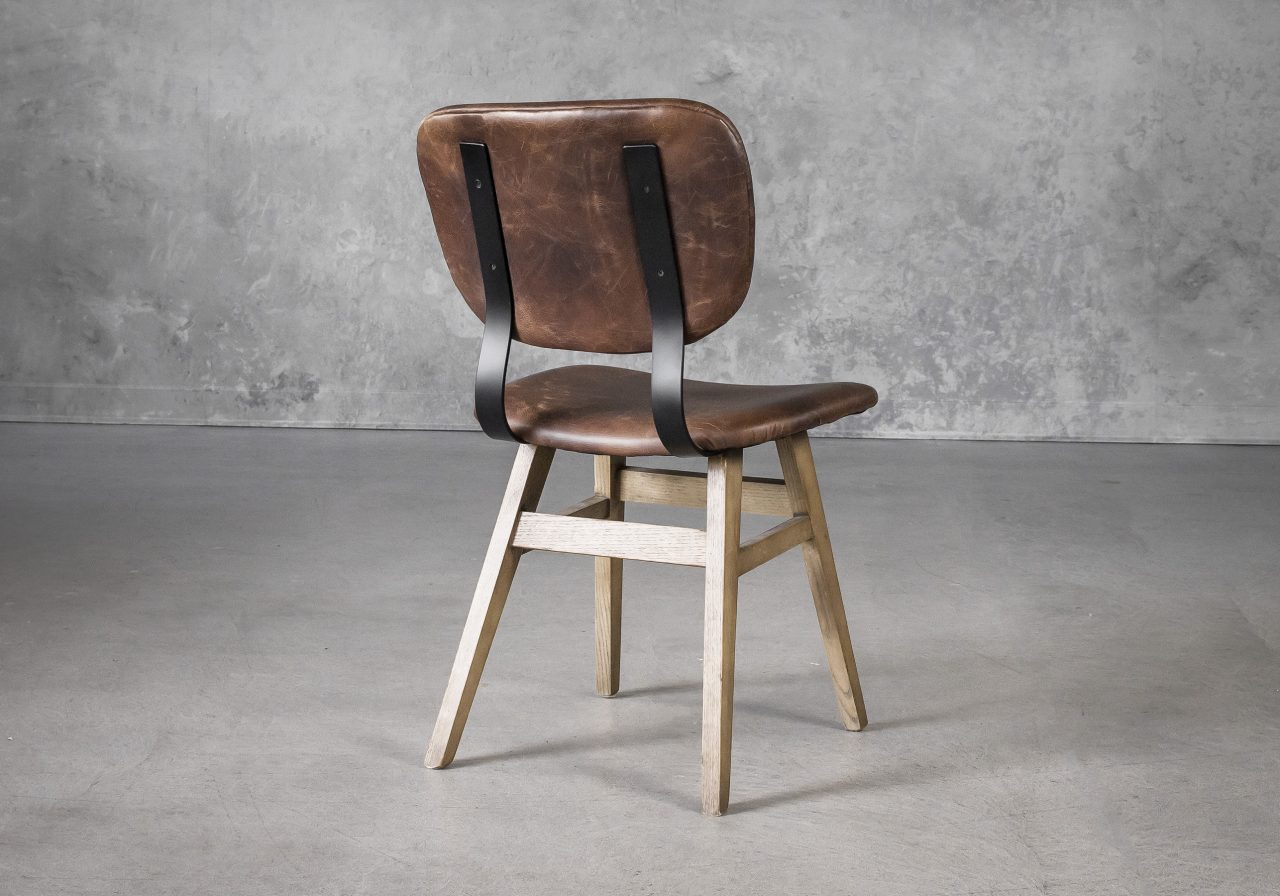 Declan Dining Chair in Brown Leather, Back