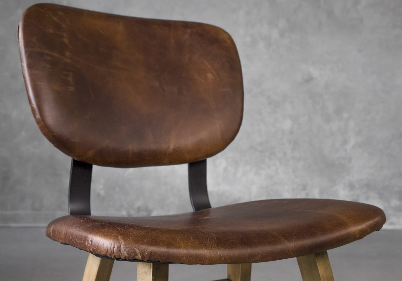 Declan Dining Chair in Brown Leather, Close Up