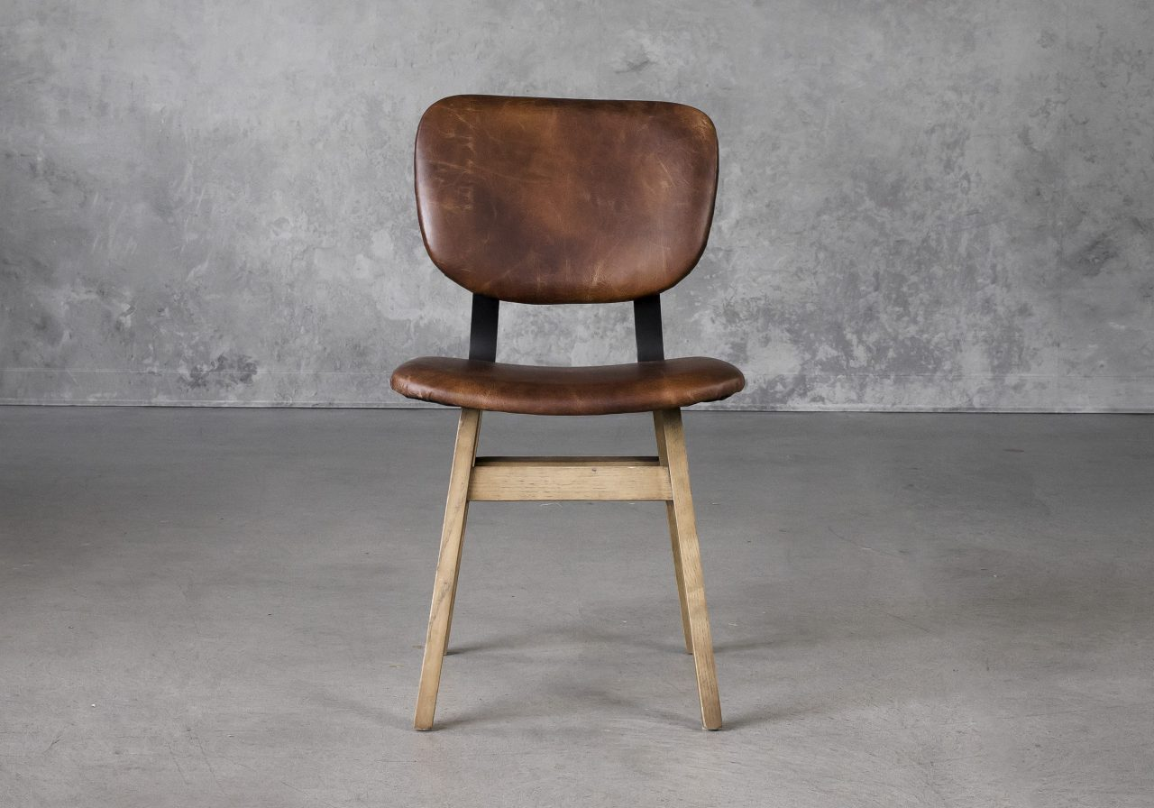 Declan Dining Chair in Brown Leather, Front