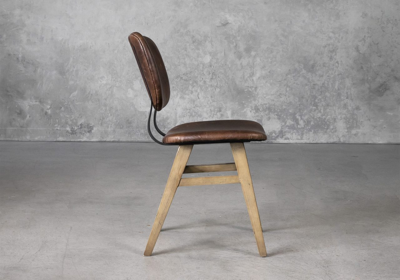 Declan Dining Chair in Brown Leather, Side