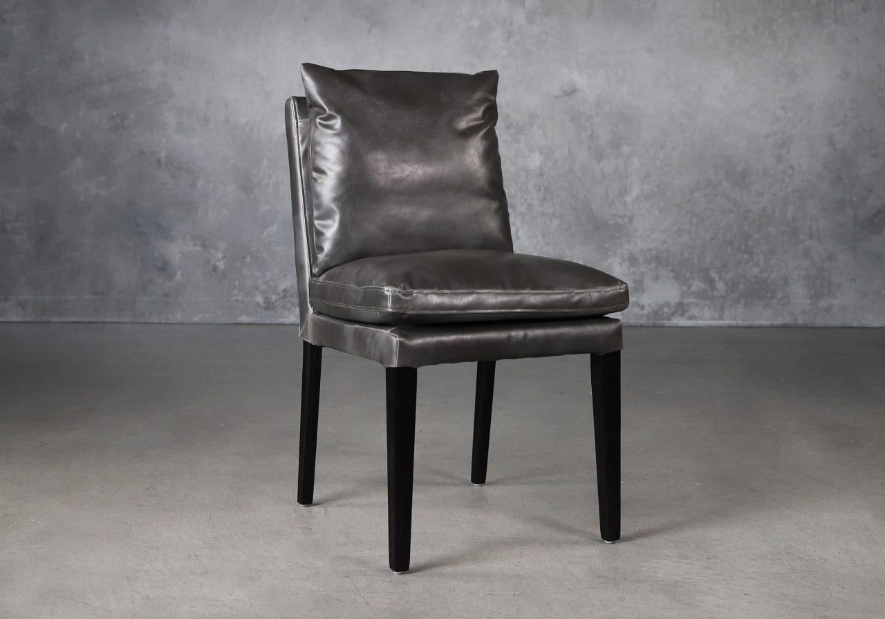 Derek Dining Chair in Dark Grey Vinyl (CU627), Angle