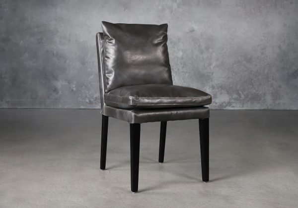 Derek Dining Chair in Dark Grey Vinyl (CU627), Angle
