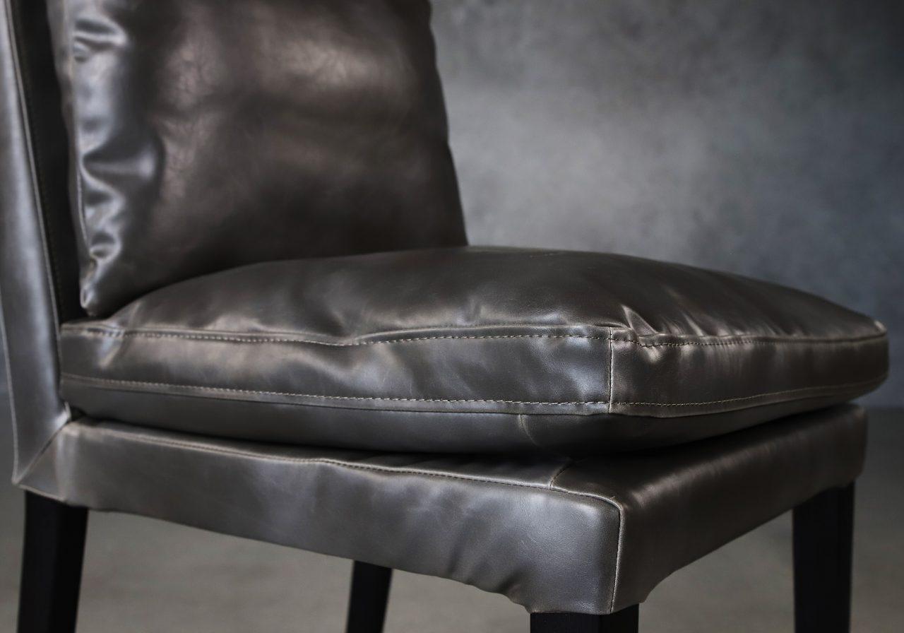 Derek Dining Chair in Dark Grey Vinyl (CU627), Close Up