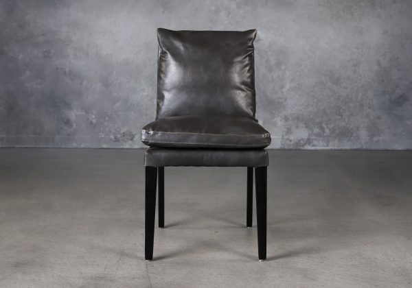 Derek Dining Chair in Dark Grey Vinyl (CU627), Front