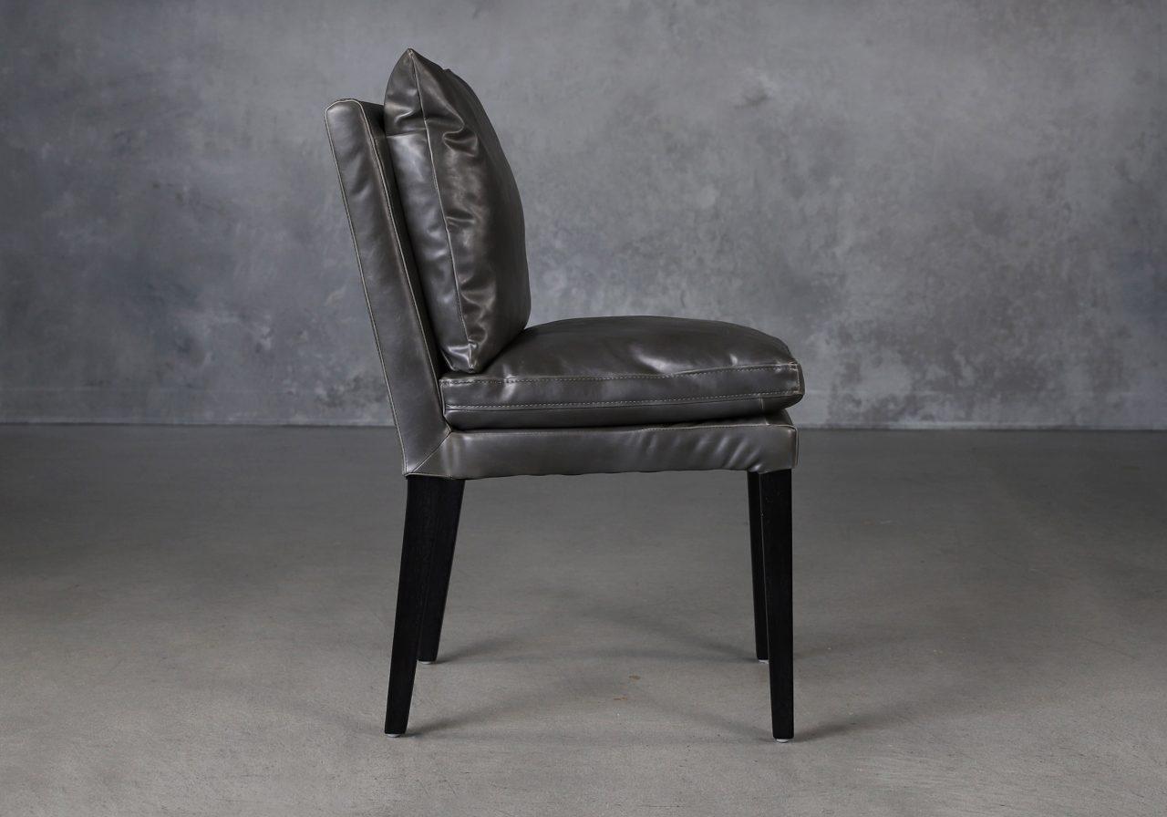 Derek Dining Chair in Dark Grey Vinyl (CU627), Side