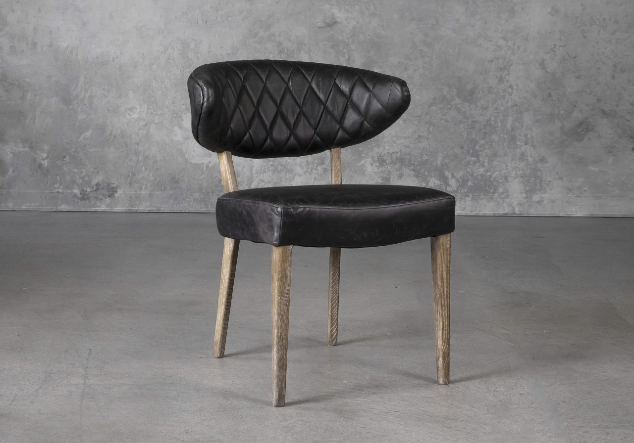Drew Dining Chair in Black Leather, Angle