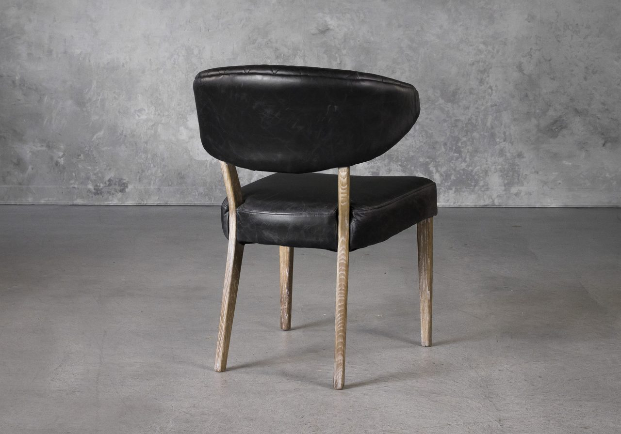 Drew Dining Chair in Black Leather, Back