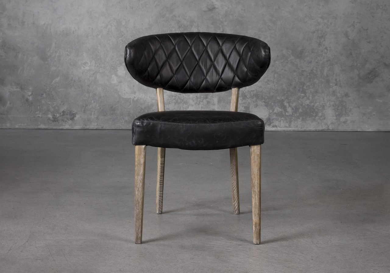 Drew Dining Chair in Black Leather, Front