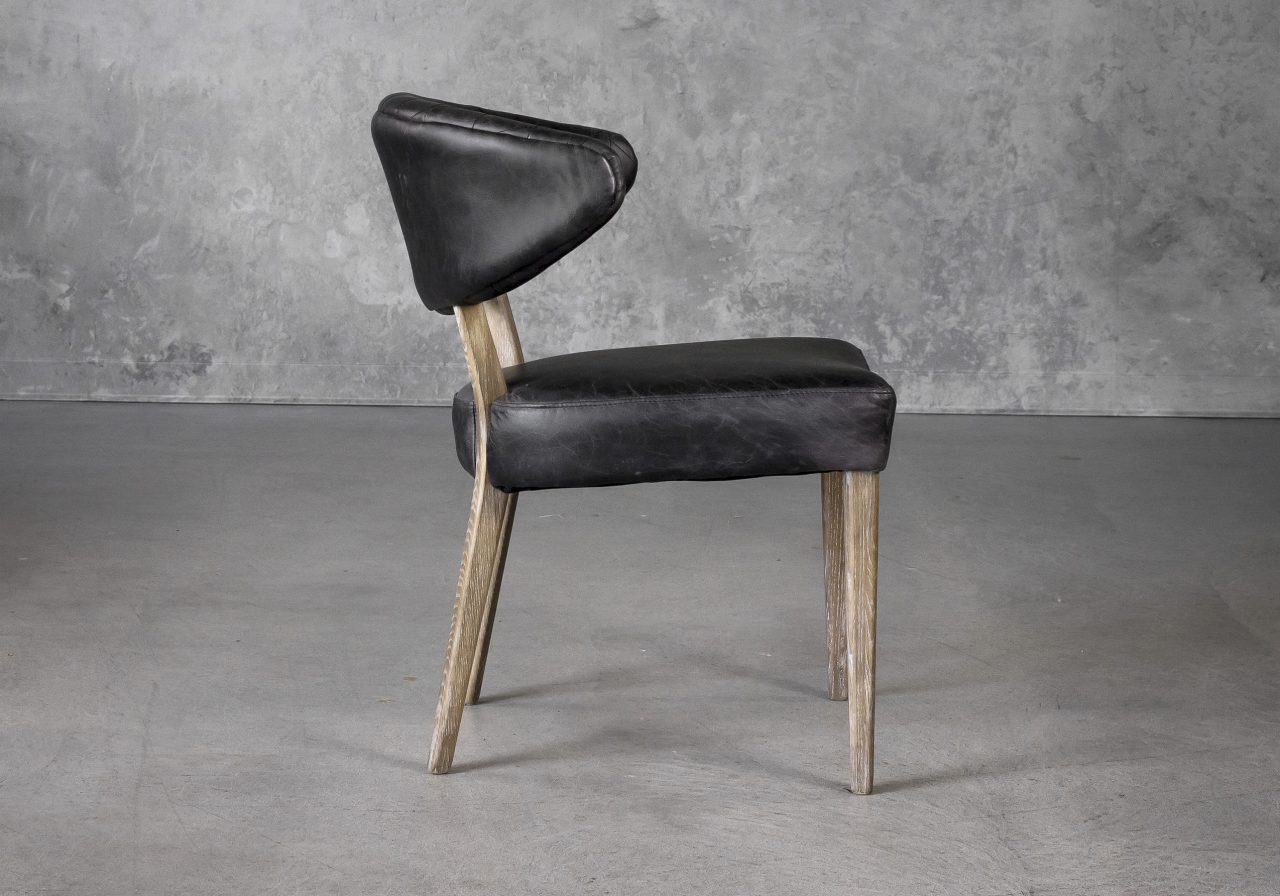 Drew Dining Chair in Black Leather, Side