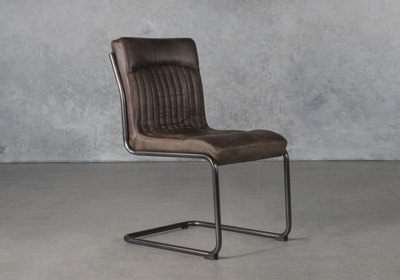 Dublin Dining Chair in Brown Leather, Angle