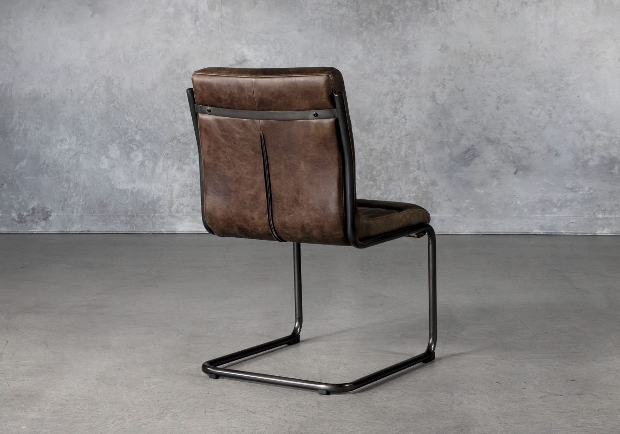 Dublin Dining Chair in Brown Leather, Back