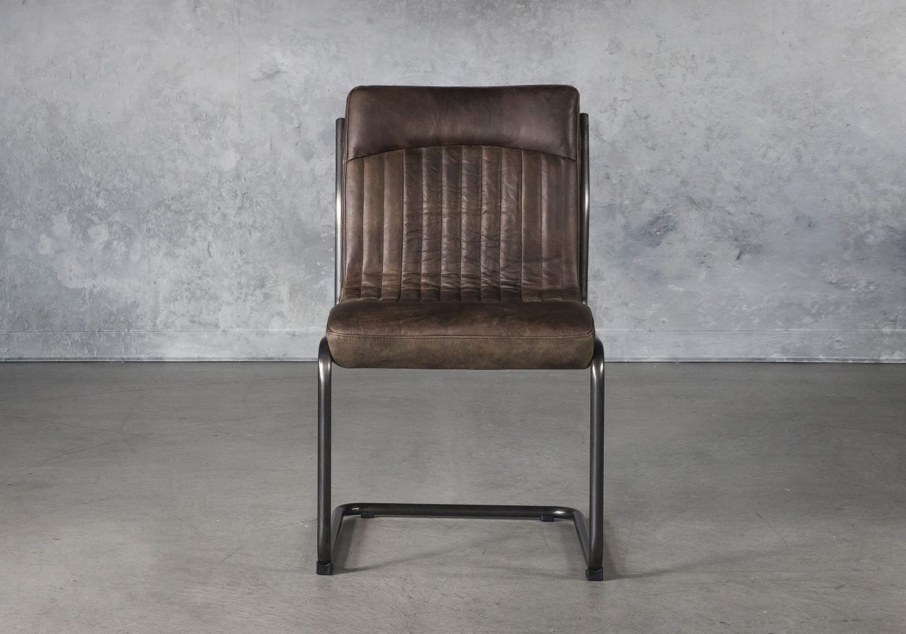 Dublin Dining Chair in Brown Leather, Front