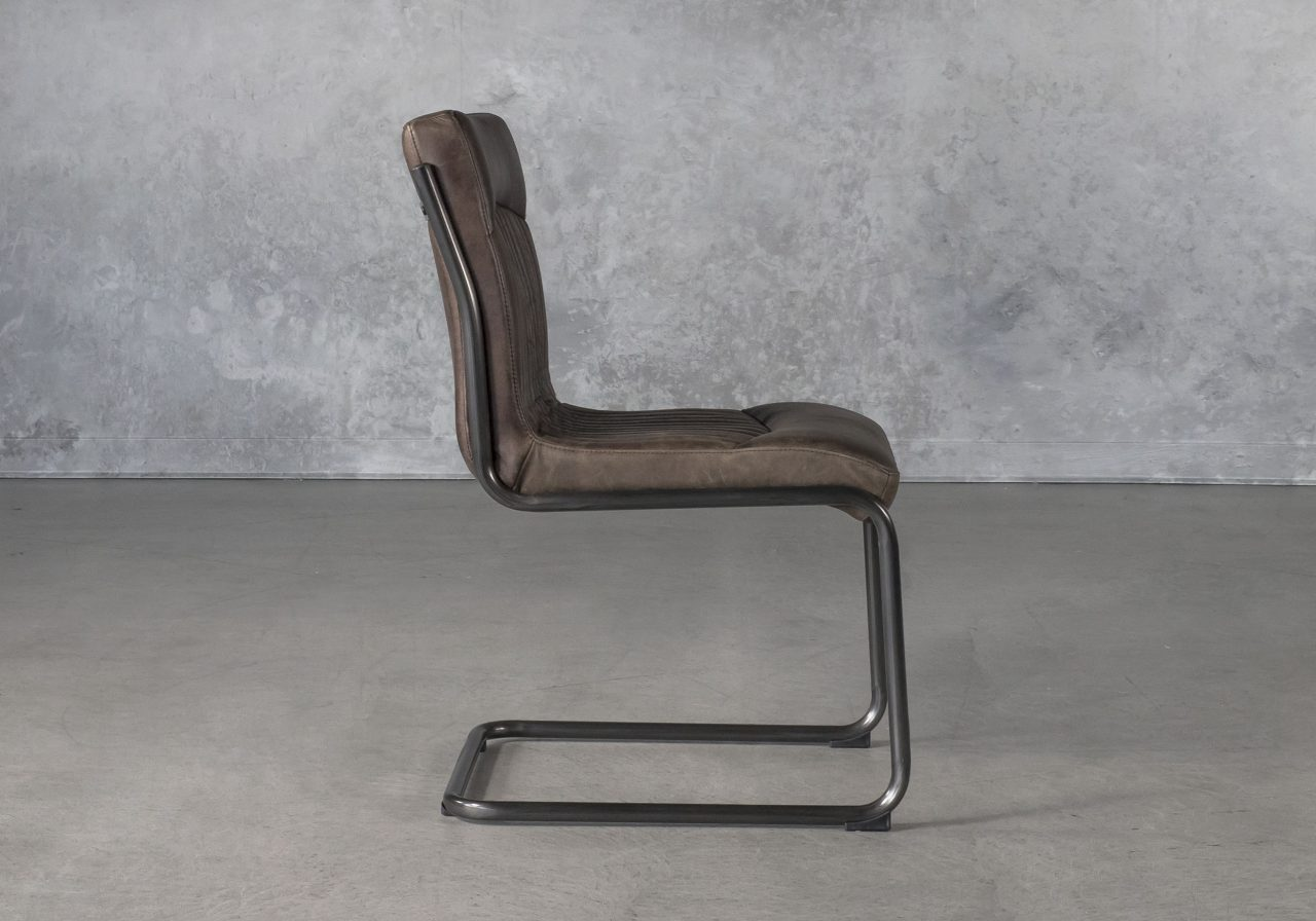 Dublin Dining Chair in Brown Leather, Side