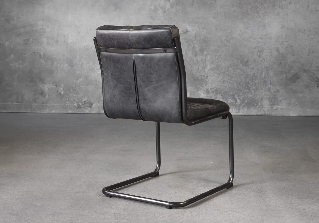Dublin Dining Chair in Ebony Leather, Back