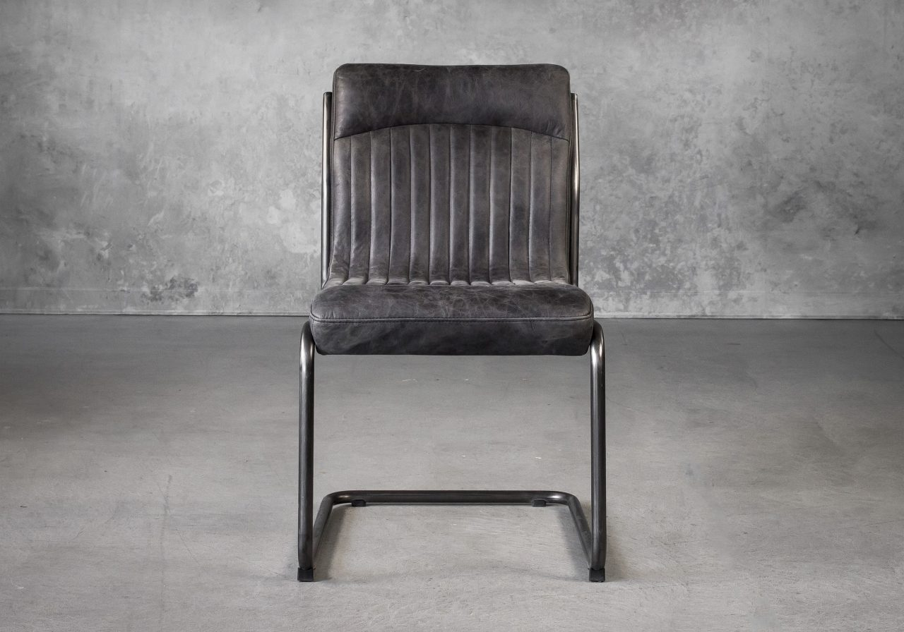 Dublin Dining Chair in Ebony Leather, Front