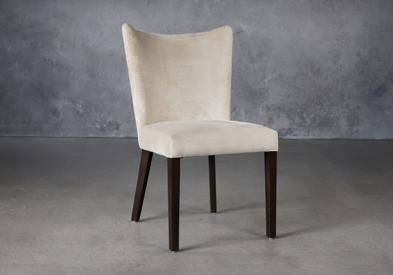 Greg Dining Chair in Beige (C686) Fabric and Nutmeg Legs, Angle