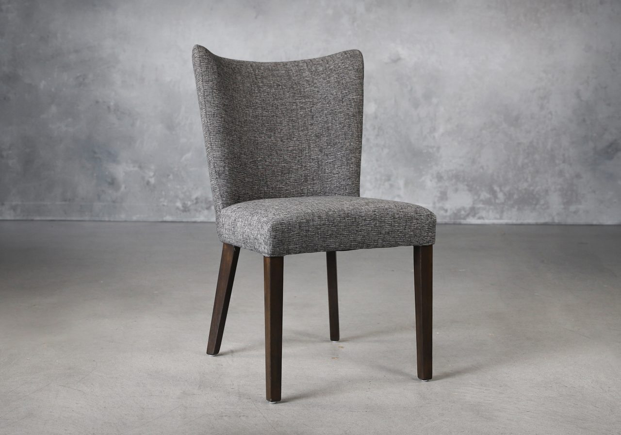Greg Dining Chair in Dark Grey (C293) Fabric and Nutmeg Legs, Angle