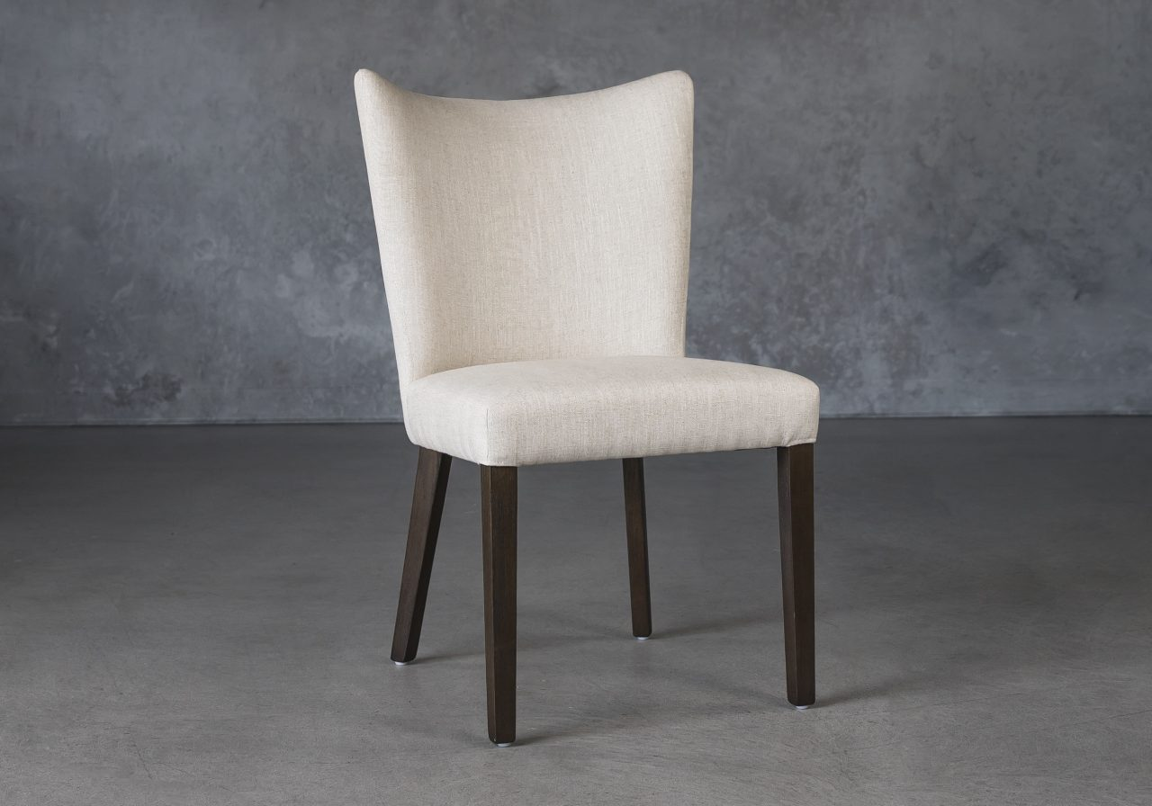 Greg Dining Chair in Linen (CW018) Fabric and Nutmeg Legs, Angle