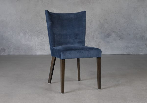 Greg Dining Chair in Teal (C758) Fabric and Nutmeg Legs, Angle