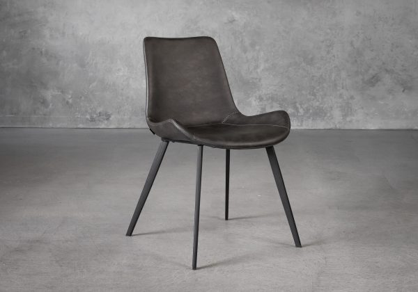 Hype Dining Chair in Grey Vinyl, Angle
