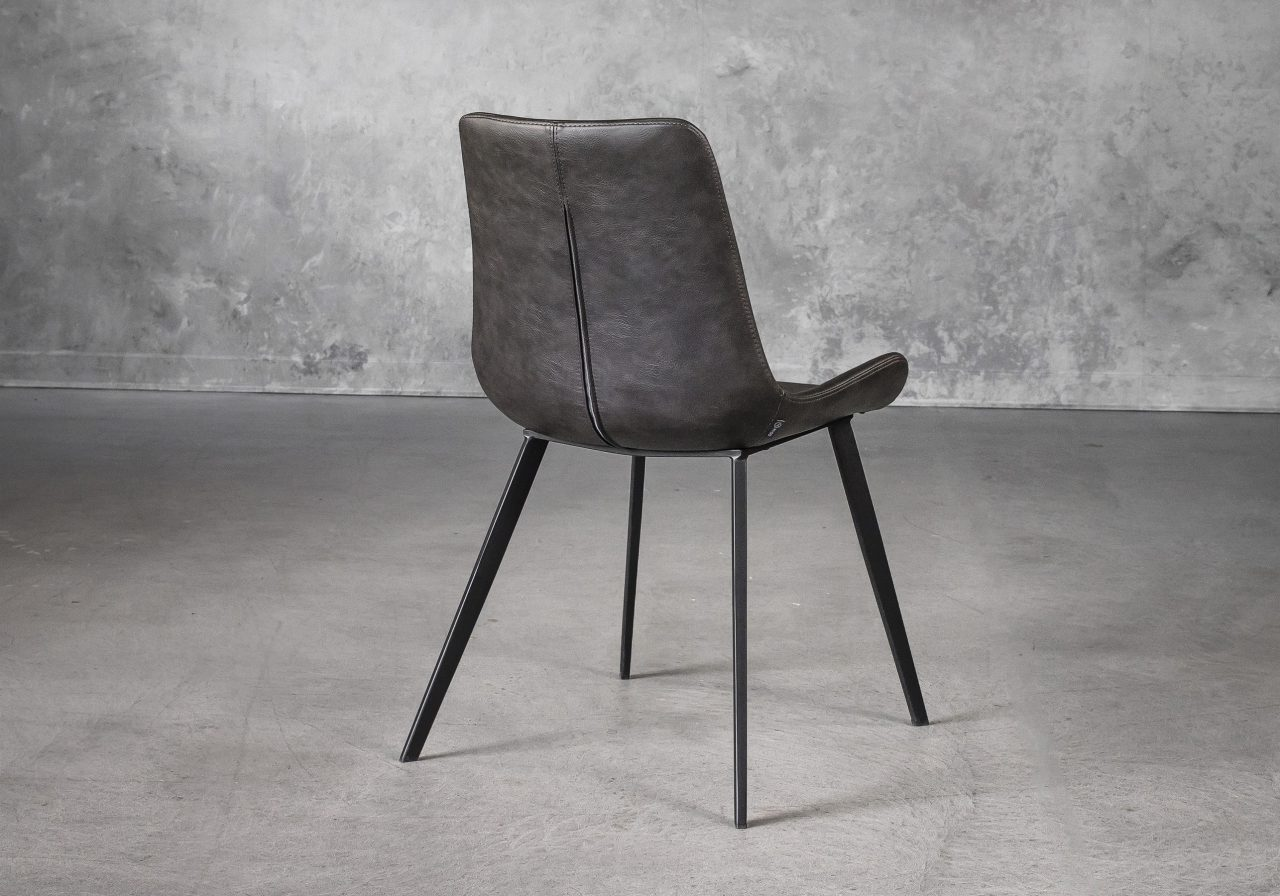 Hype Dining Chair in Grey Vinyl, Back