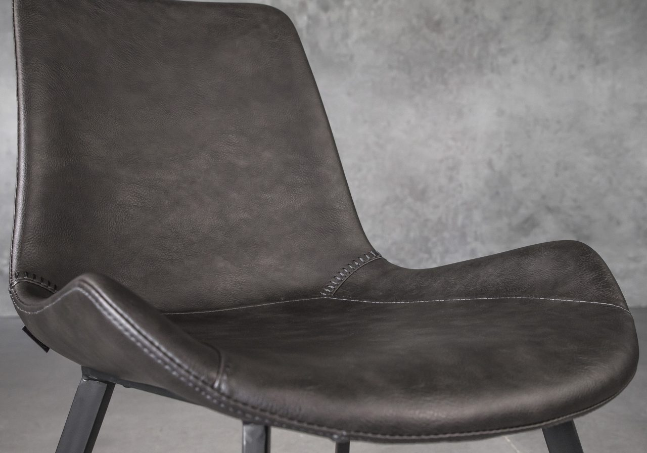 Hype Dining Chair in Grey Vinyl, Close Up