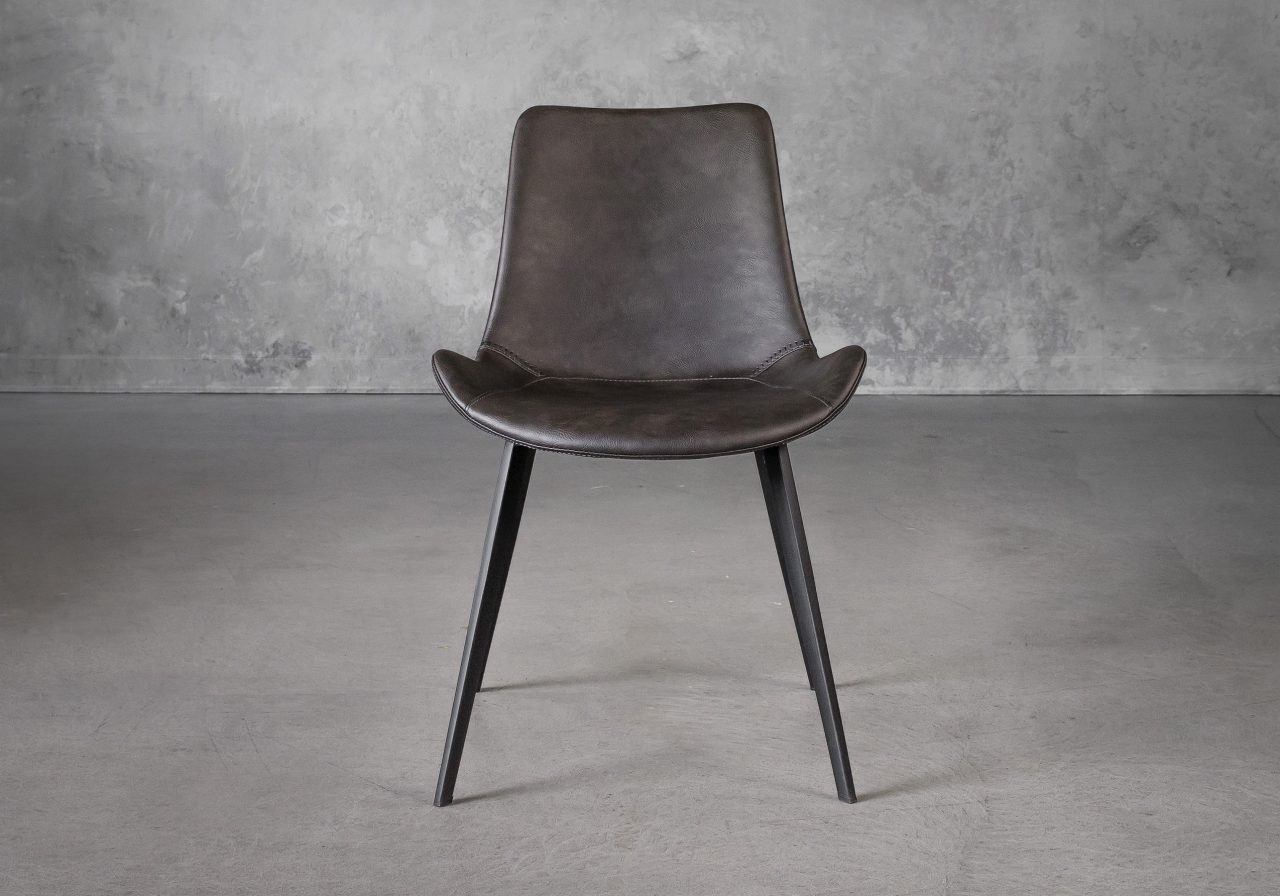 Hype Dining Chair in Grey Vinyl, Front