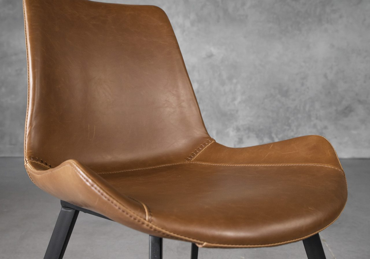 Hype Dining Chair in Tan Vinyl, Close Up