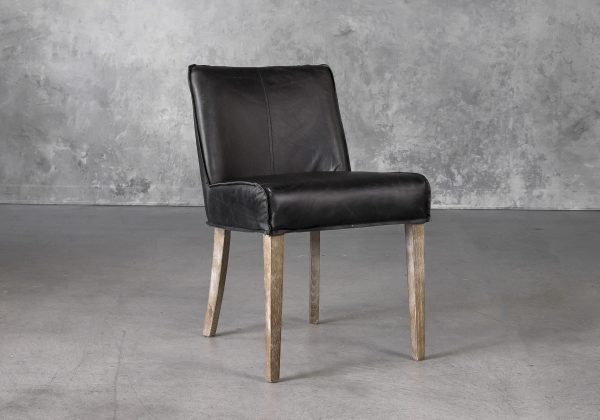 Jonny Dining Chair in Black Leather, Angle