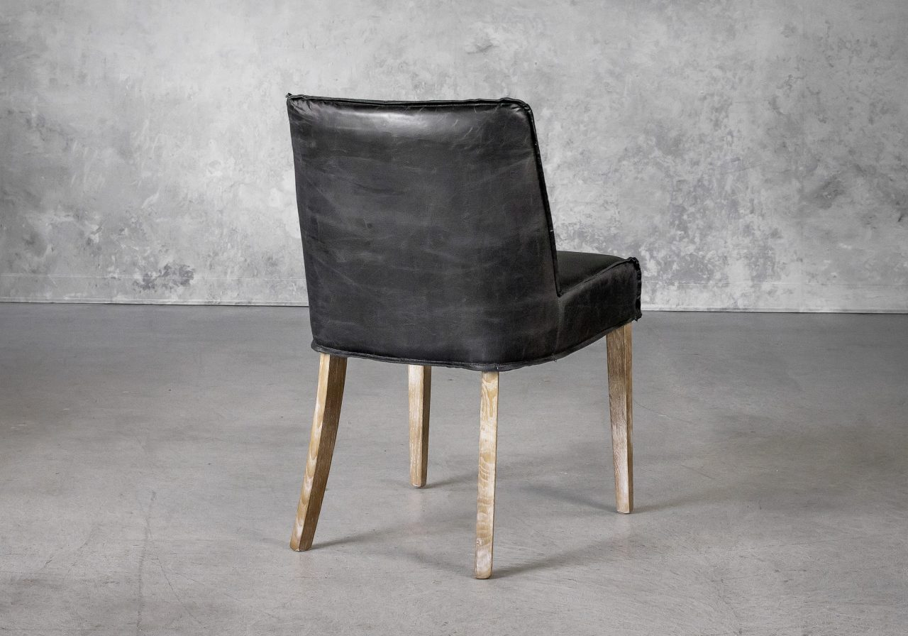 Jonny Dining Chair in Black Leather, Back