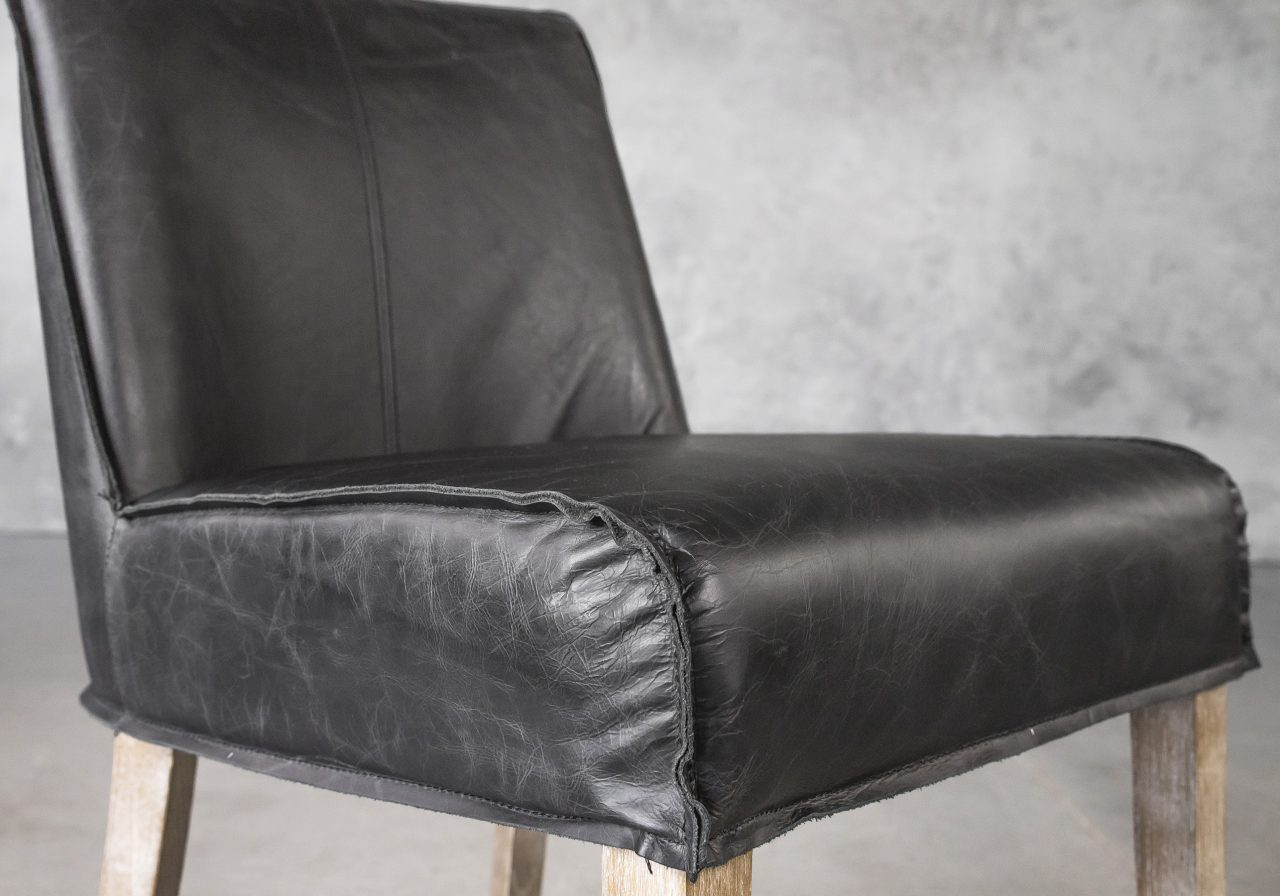 Jonny Dining Chair in Black Leather, Close Up